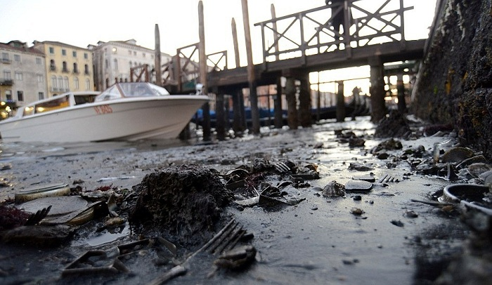 Из-за отлива в Венеции на дне каналов стал виден весь мусор.