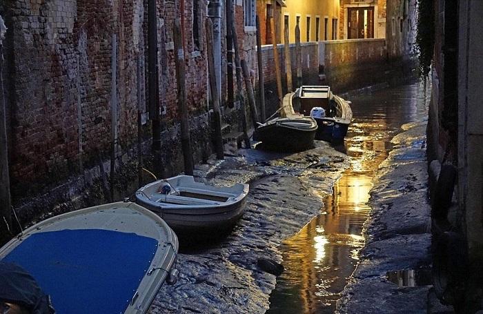 В Венеции каналы превратились в грязевые протоки.