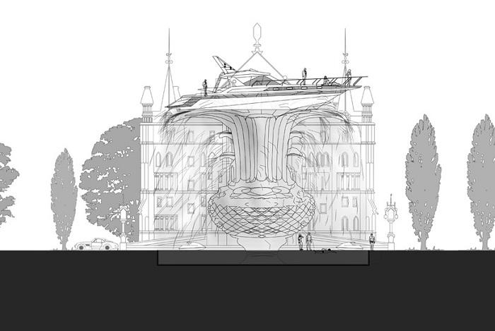 План-схема фонтана-корабля.
