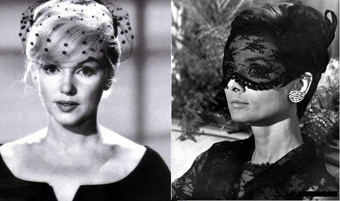 Мэрилин Монро и Одри Хепберн в вуалетках.