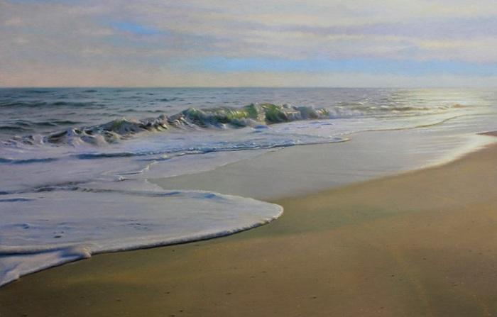 Гиперреалистичная картина с морским пейзажем.