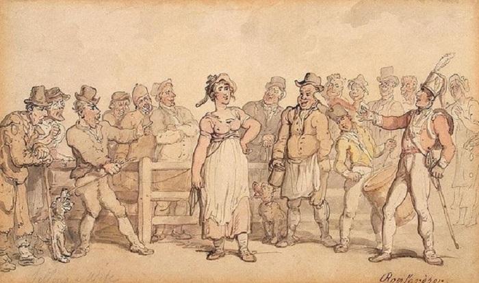 Продажа жены. Томас Роулендсон, ок. 1812-1814 гг.   Фото: deti.mail.ru.