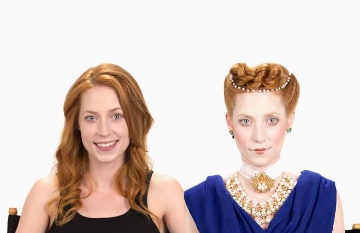 Девушка с макияжем времен королевы Елизаветы.