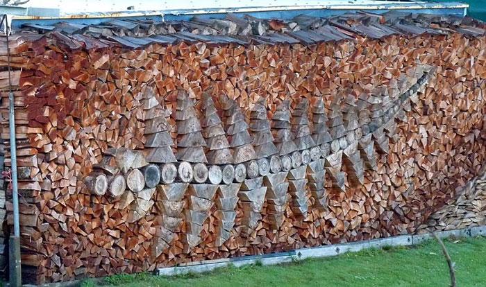 Удивительный рисунок, сделанный из дров.