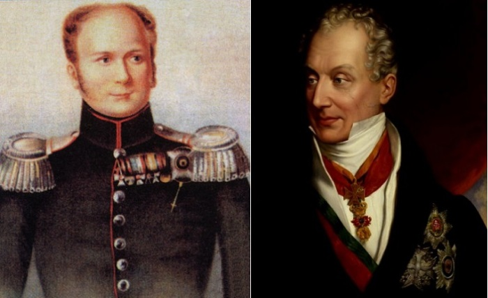 Слева: российский императора Александр I, справа: австрийский канцлер Клеменс фон Меттерних.