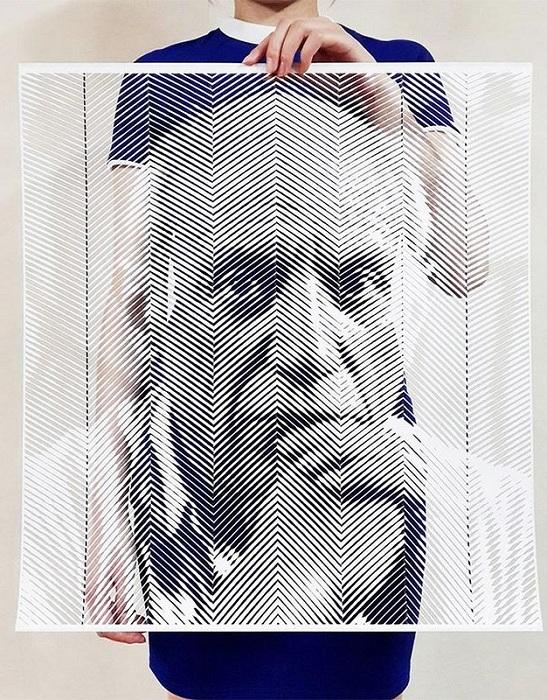 Портрет Пабло Пикассо, вырезанный из сотен бумажных полосок.