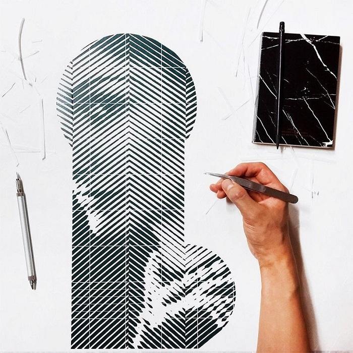 Процесс создания изображения из бумаги.