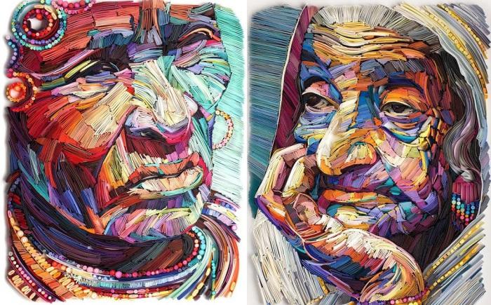 Пожилые лица из бумаги, выполненные в технике квиллинг.