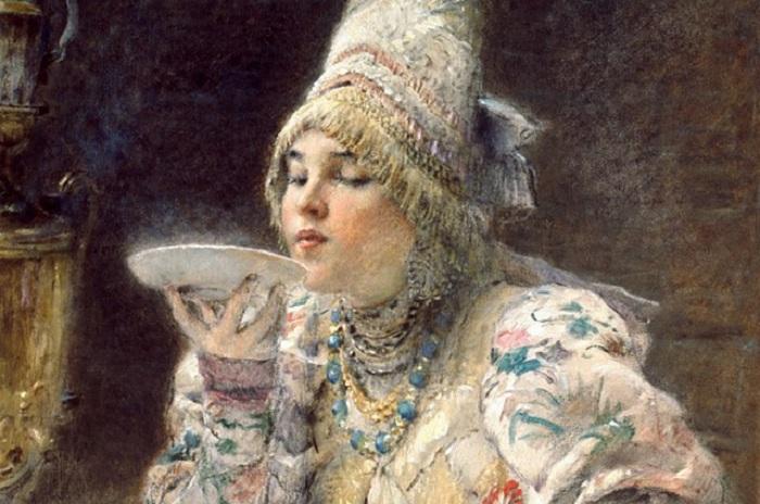 За чаем. К. Маковский, 1914 год. | Фото: aif.ru.