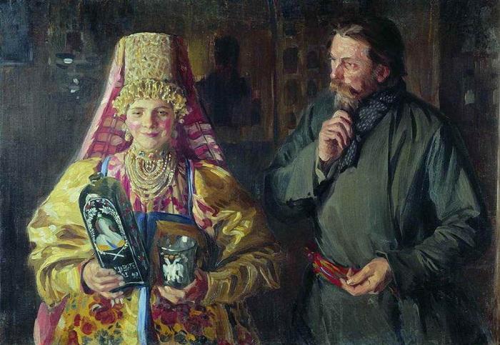 C праздником (Зарделась). Иван Куликов, 1911 год. | Фото: img1.liveinternet.ru.