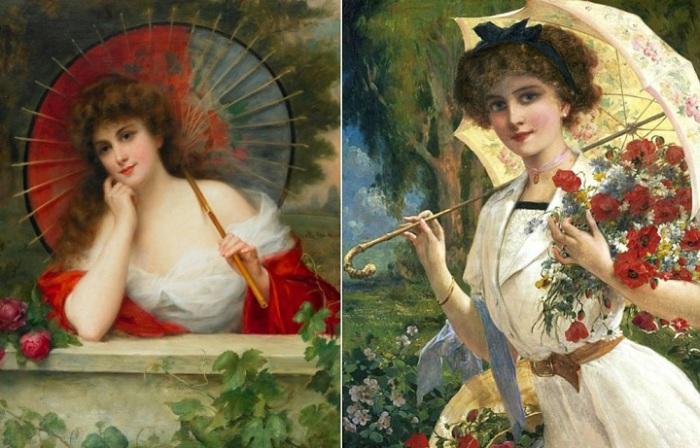 Зонтик - неотъемлемый дамский аксессуар в XIX веке.