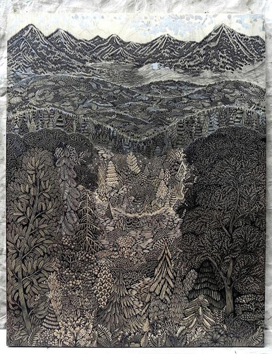 Огромная деревянная гравюра от Paul Roden и Valerie Lueth.