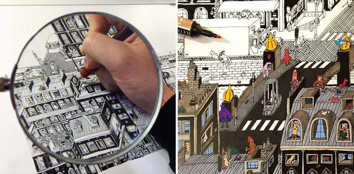 Городская миниатюра, нарисованная за 150 часов.