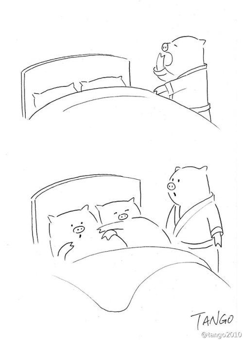 Лаконичные черно-белые комиксы.