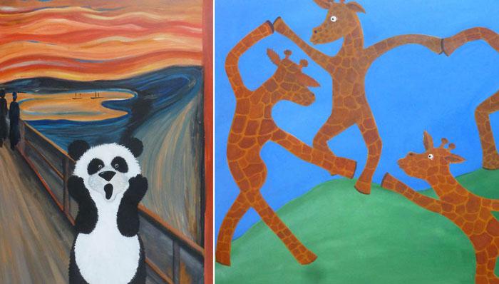 Известные картины на манер детских иллюстраций.