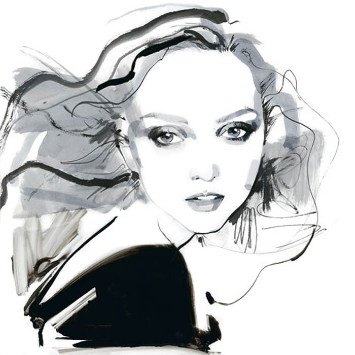 Лили Коул на рисунках David Downton.