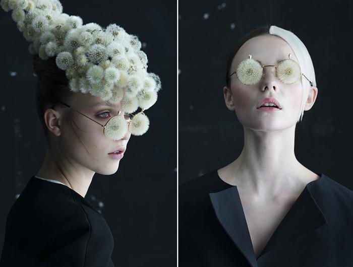 Портреты, украшенные одуванчиками.