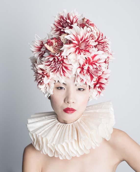 Необычные шляпки из цветов.