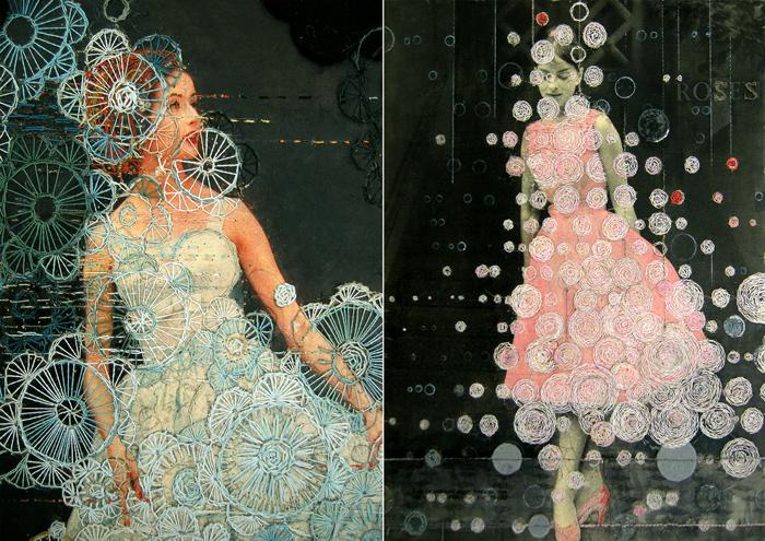 Ретро-фотографии, украшенные современной вышивкой и бисером.