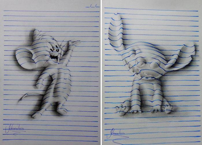 рисунки карандашом на тетрадном листе: