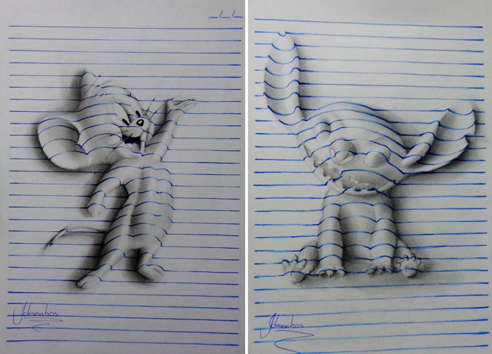 3D-рисунки на тетрадных листках.
