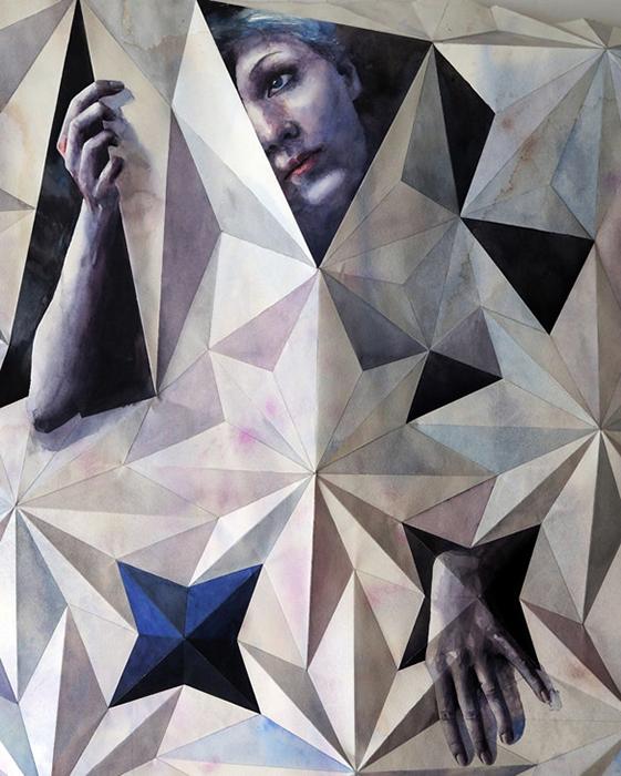 Комбинация акварели и искусства оригами.