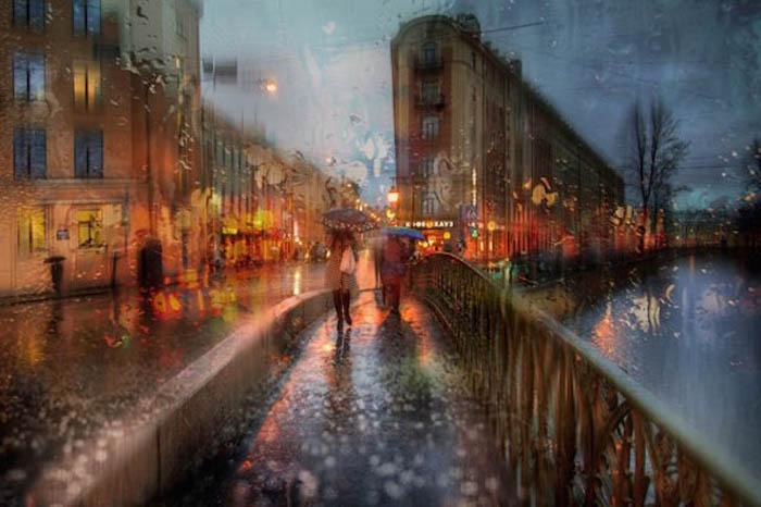 Городской пейзаж в дождь.