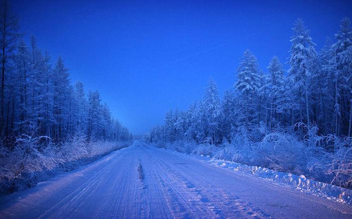 Зимние пейзажи в Оймяконе.