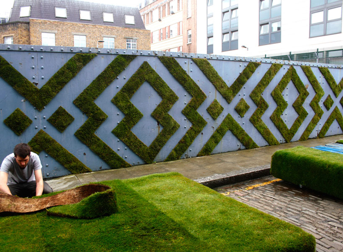 Экологические инсталляции на стенах.