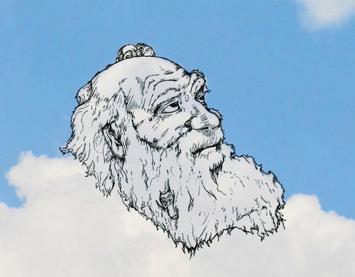 Фигуры, угадывающиеся в облаках.