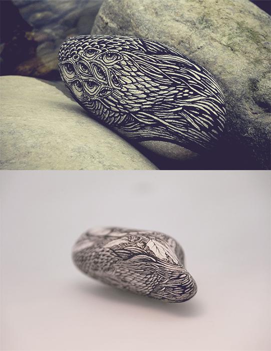 Роспись камней в современном стиле.