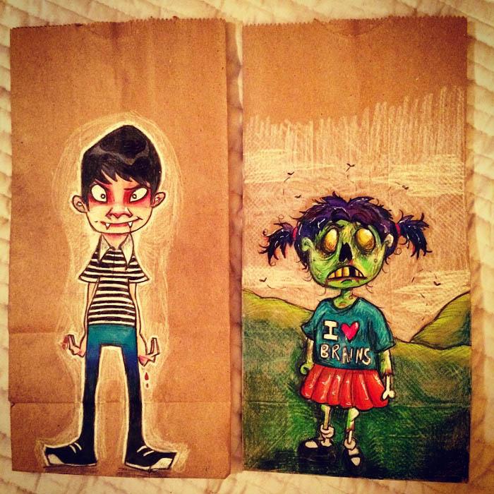Яркие рисунки на пакетах для сендвичей.