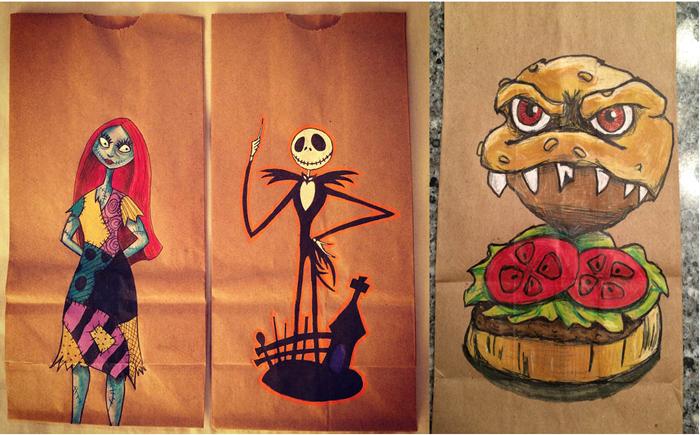 Рисунки на пакетах для бутербродов.