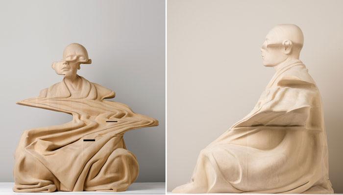 Скульптура, изображающая медитирующего монаха.