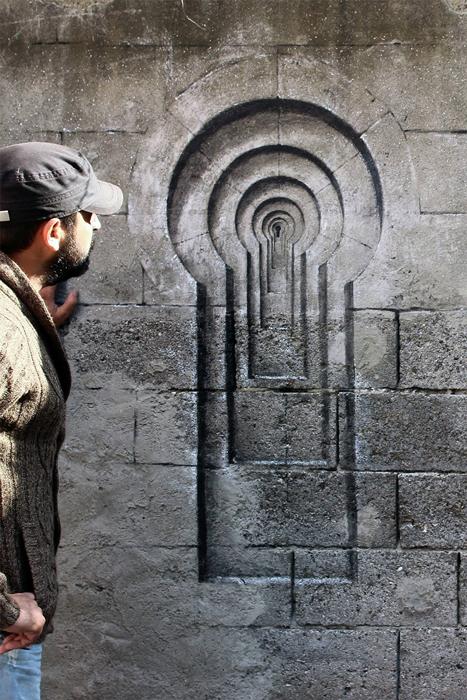 Необычное реалистичное граффити.
