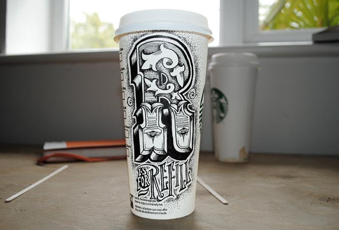 Разрисованные кофейные стаканы от Rob Draper.