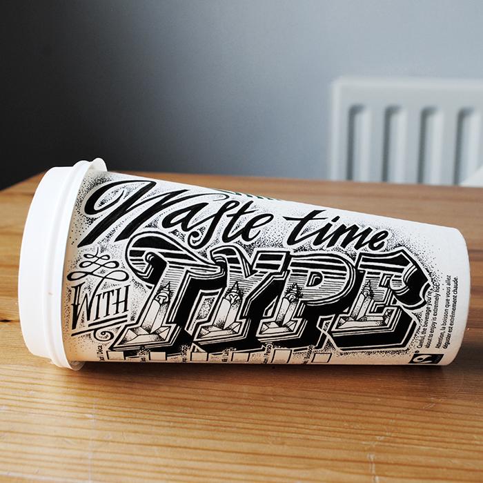 Типографика на кофейных стаканах от Rob Draper.