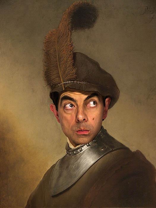Лицо Мистера Бина на классических портретах.