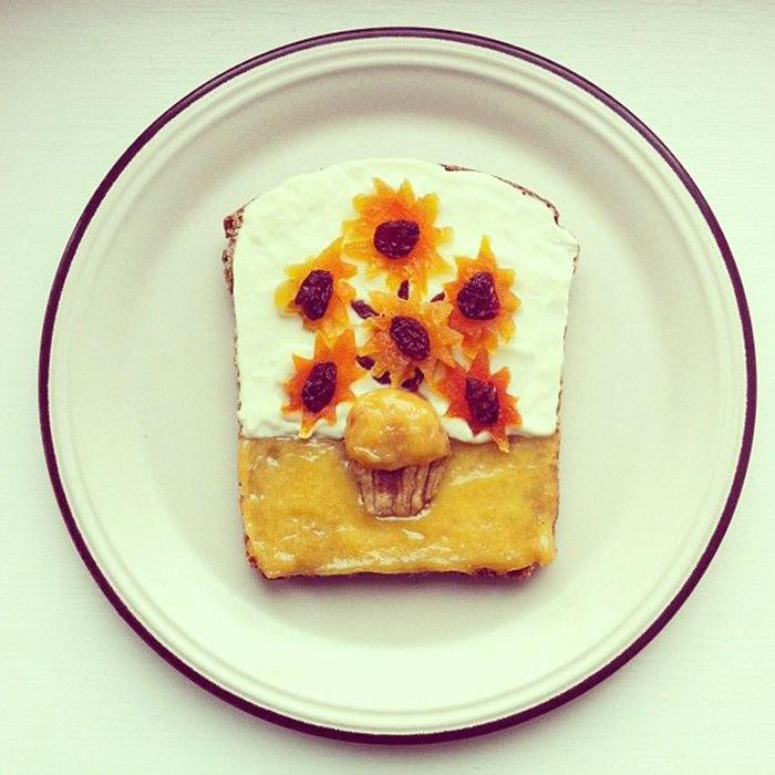 Картины, выложенные на сендвичах, от Ida Skivenes.