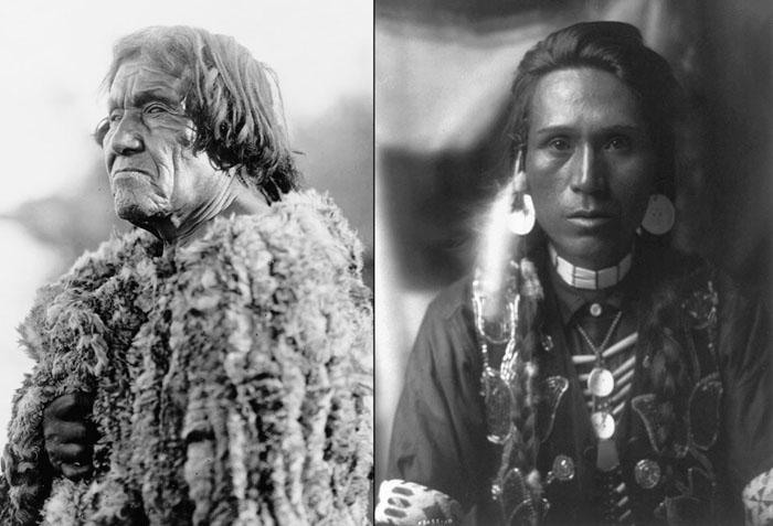 Слева: Мужчина из племени Мохаве, в одежде из кролика, 1907. Справа: Молодой мужчина из племени Якима с дисковыми серьгами из ракушек, 1910.