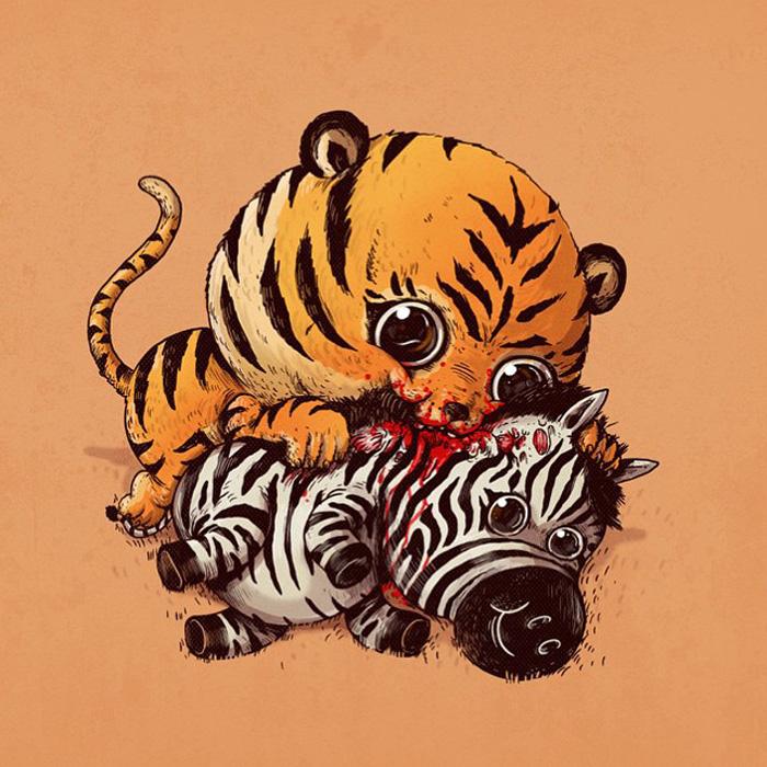 Тигр с зеброй. Первая работы из серии Predators vs Prey.