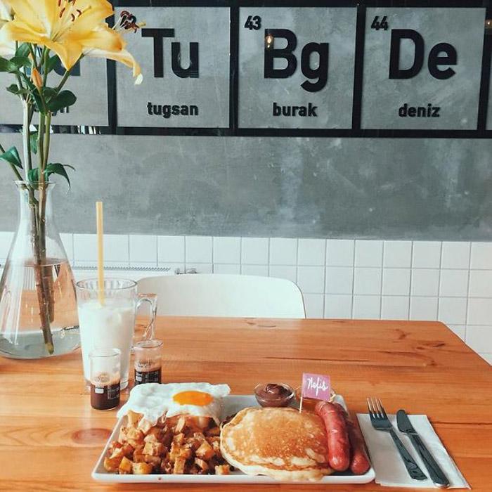 Ланч в кафе Walter's Coffee Roastery на фоне новых химических элементов.
