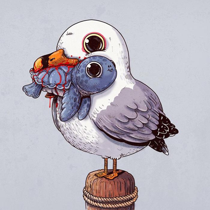 Чайка с черепашкой. Забавные иллюстрации от Алекса Солиса.