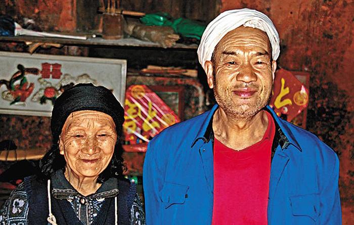 Лю и Ксю, прожившие вместе в пещере более полувека.