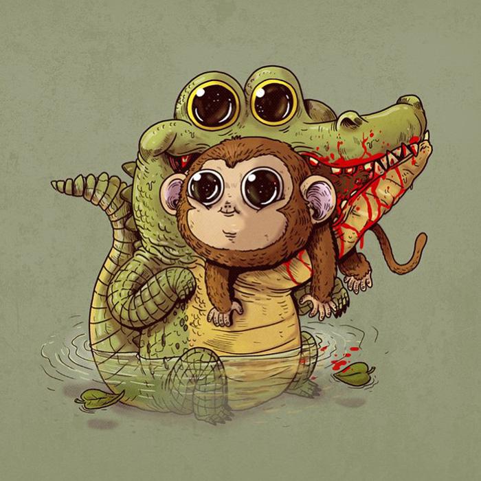 Крокодил с обезьянкой.