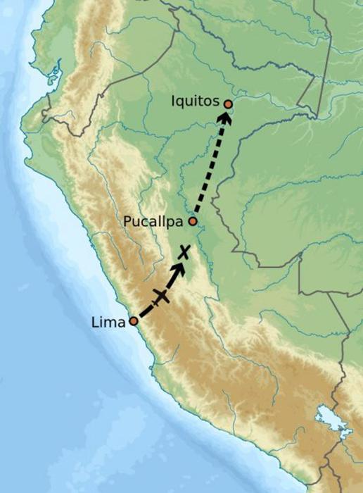 Приблизительный маршрут полета и место крушения  самолета, на котором летела Джулиана Кёпке.