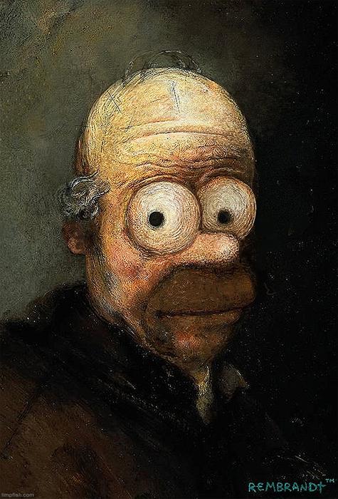Гомер Симпсон в стиле Рембранта.