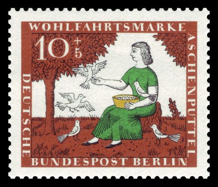 Немецкая марка - Золушке помогают голуби разобрать чечевицу.