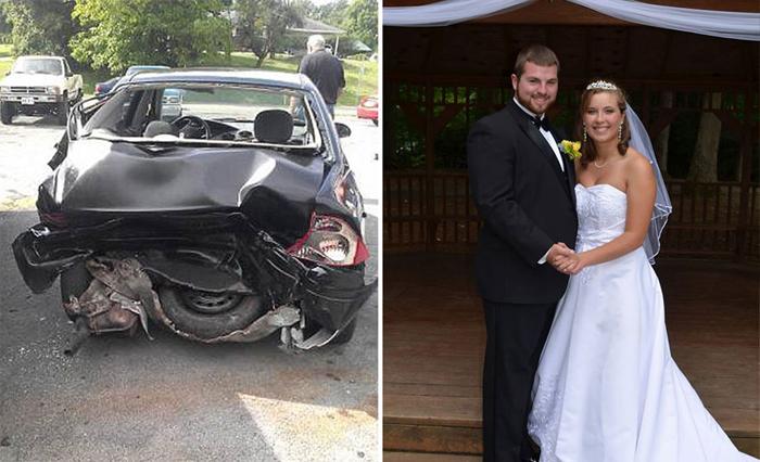 После аварии девушка потеряла память и не помнит свою свадьбу.