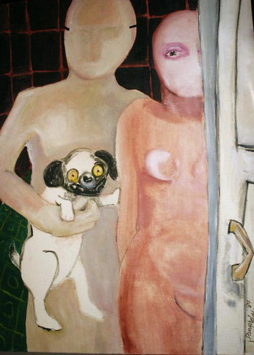 Сервант был пуст (The cupboard was bare). Автор: Pangorda. Женская фигура боится заходить в комнату, мопс подталкивает ее в спину, как бы говоря *не бойся, иди первой*. Мужская фигура не помогает женщине справиться со своими страхами, а только держит улыбающуюся собаку.